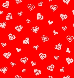 Seamless texture with hearts embroidery vector