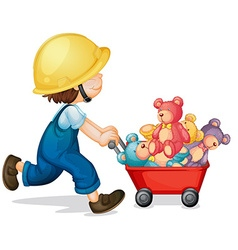 Boy pushing cart full of teddy bears vector image