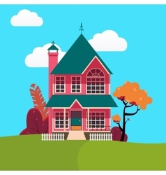 Family house landscape with trees vector