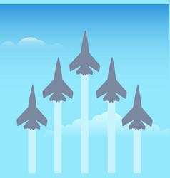 Aerobatics planes in the sky vector