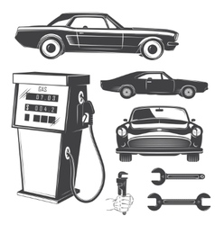 Auto service set Rent a Car Garage auto vector image