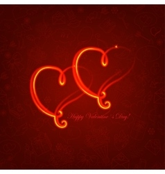 Background with glowing hearts on love symbol vector