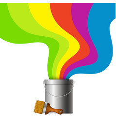 Bucket with paint and brush vector