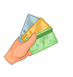 Card in hand icon cartoon style vector image