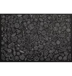 Chalkboard line art doodle cartoon set of vector