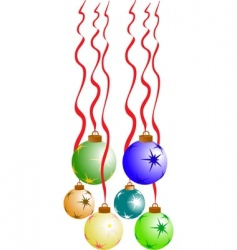 Christmas balls with red ribbon vector image vector image
