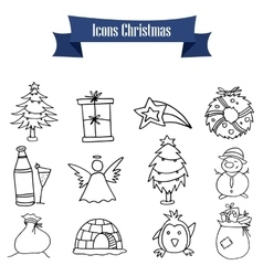 Christmas object icons vector