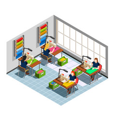 Clothes factory seamstress isometric composition vector