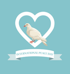 Color poster pigeon in heart shape frame with vector