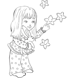 Cute little girl with funny stars digital stamp vector