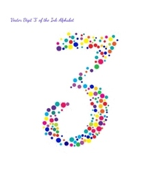 Digit 3 from bright color ink blots with vector