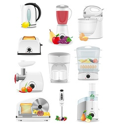 electrical appliances for the kitchen 02 vector image vector image