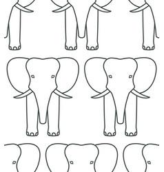 Elephant face contour pattern vector
