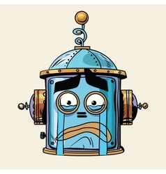 Emoticon cry emoji robot head smiley emotion vector