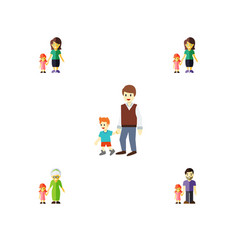 flat icon family set of daugther mother boys and vector image