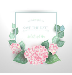 Floral wedding card with blooming hydrangea vector