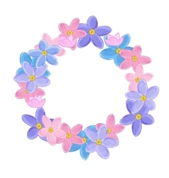 Floral wreath made of forget-me-not flowers vector