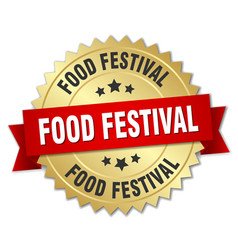 food festival round isolated gold badge vector image vector image