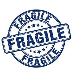 Fragile blue grunge round vintage rubber stamp vector