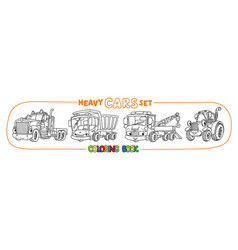 Funny heavy cars with eyes coloring book set vector