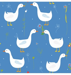 Funny seamlesss pattern with goose and flower vector image vector image