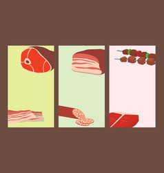 Meat products set of cartoon cards delicious vector