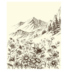 Mountain landscape flowers border sketch vector