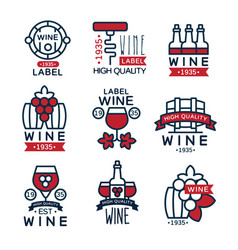 red wine vintage labels set collection of vector image vector image