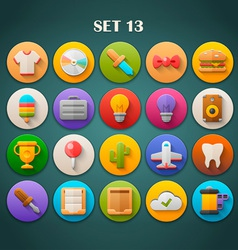 Round bright icons with long shadow set 13 vector
