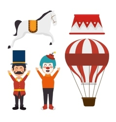Set elements circus show icons vector