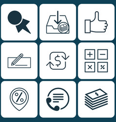 Set of 9 e-commerce icons includes calculation vector