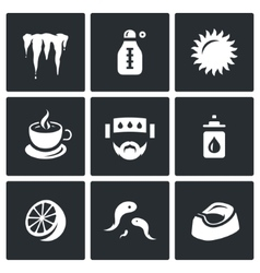 Set of Disease Icons Cooling Temperature vector image vector image