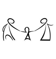 Stick figures happy family vector