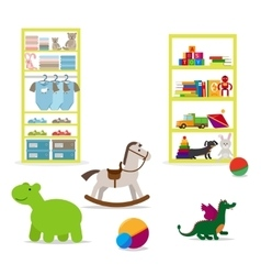 Toys and children clothing shop vector