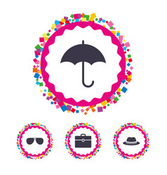 umbrella sunglasses and hat with case vector image vector image