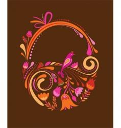 vintage floral easter basket vector image