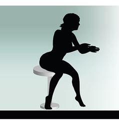 woman silhouette with sitting pose leaning on vector image vector image