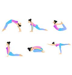 yoga movement set vector image vector image