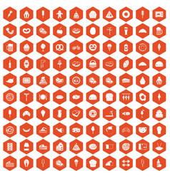 100 calories icons hexagon orange vector