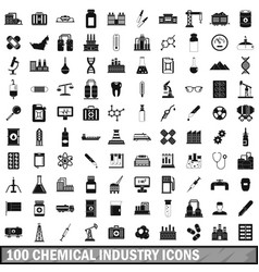 100 chemical industry icons set simple style vector