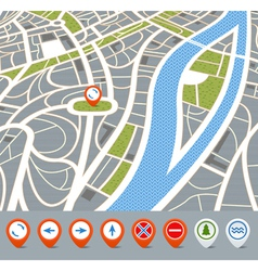 Perspective background of abstract city map with vector image