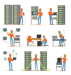 Young man working in network server room vector