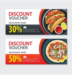 Discount voucher mexican food template design set vector