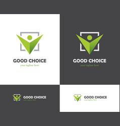 Green check box and abstract human icon vector