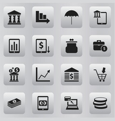 Set of 16 editable finance icons includes symbols vector
