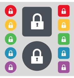 Lock sign icon locker symbol set colourful buttons vector