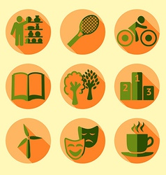 Sketch green life set in vintage style vector