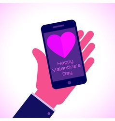 Valentines day - smartphone on hand flat icon vector