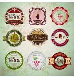 Set of wine vintage labels vector