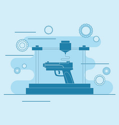 3d printing icon 3d modeling weapons vector image vector image